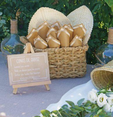ideas conos de arroz para bodas