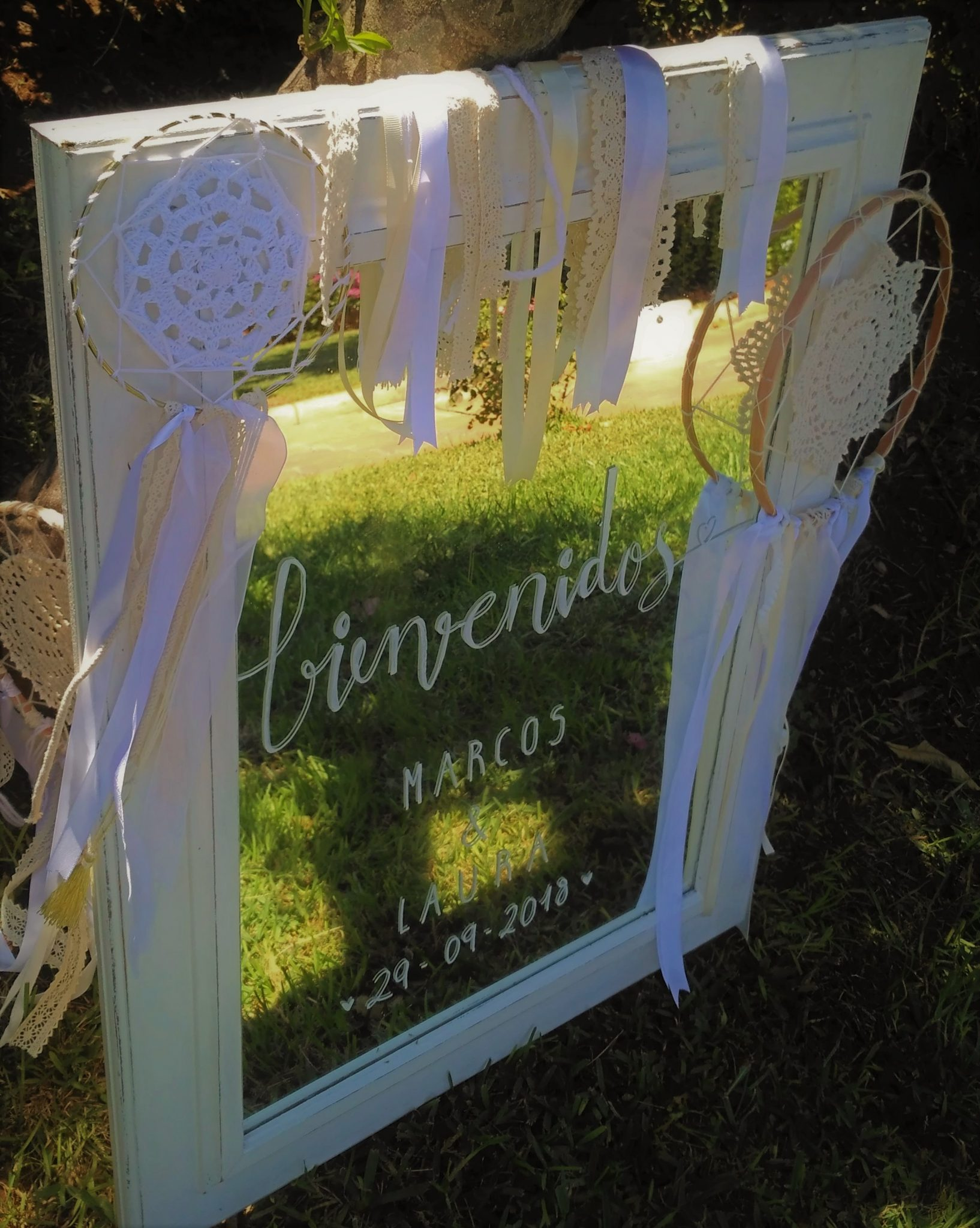 espejo cartel de bienvenida boda ideas boho