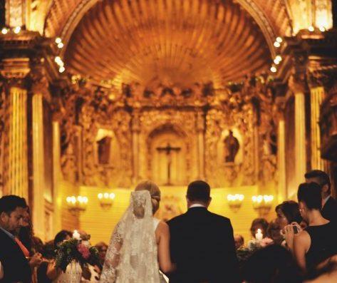 iglesia boda decoración
