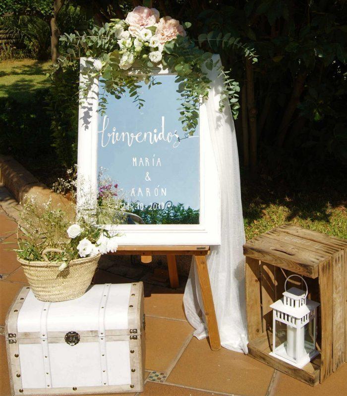 rincon de bienvenida boda espejo